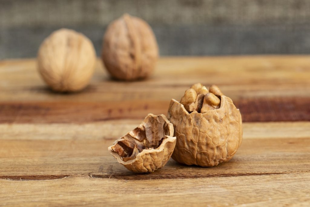 a few walnuts on a table