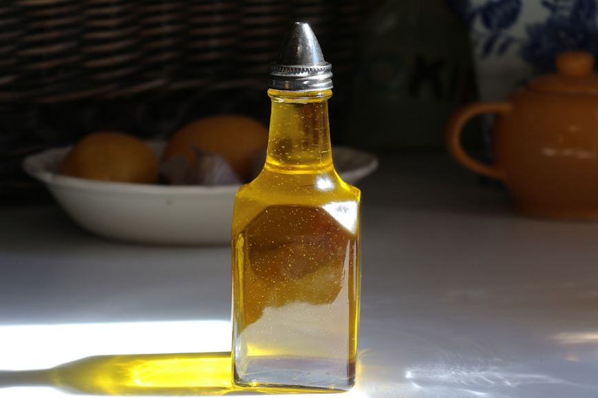 a bottle containing oil