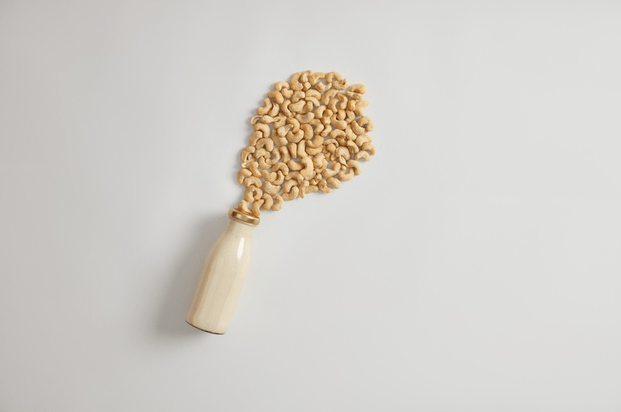 Picture of a cashew milk bottle and cashews above with a white background.