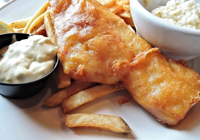 Tartar sauce with fish and chips